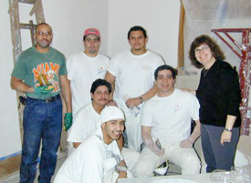 """Audra Frank and her painting crew""."